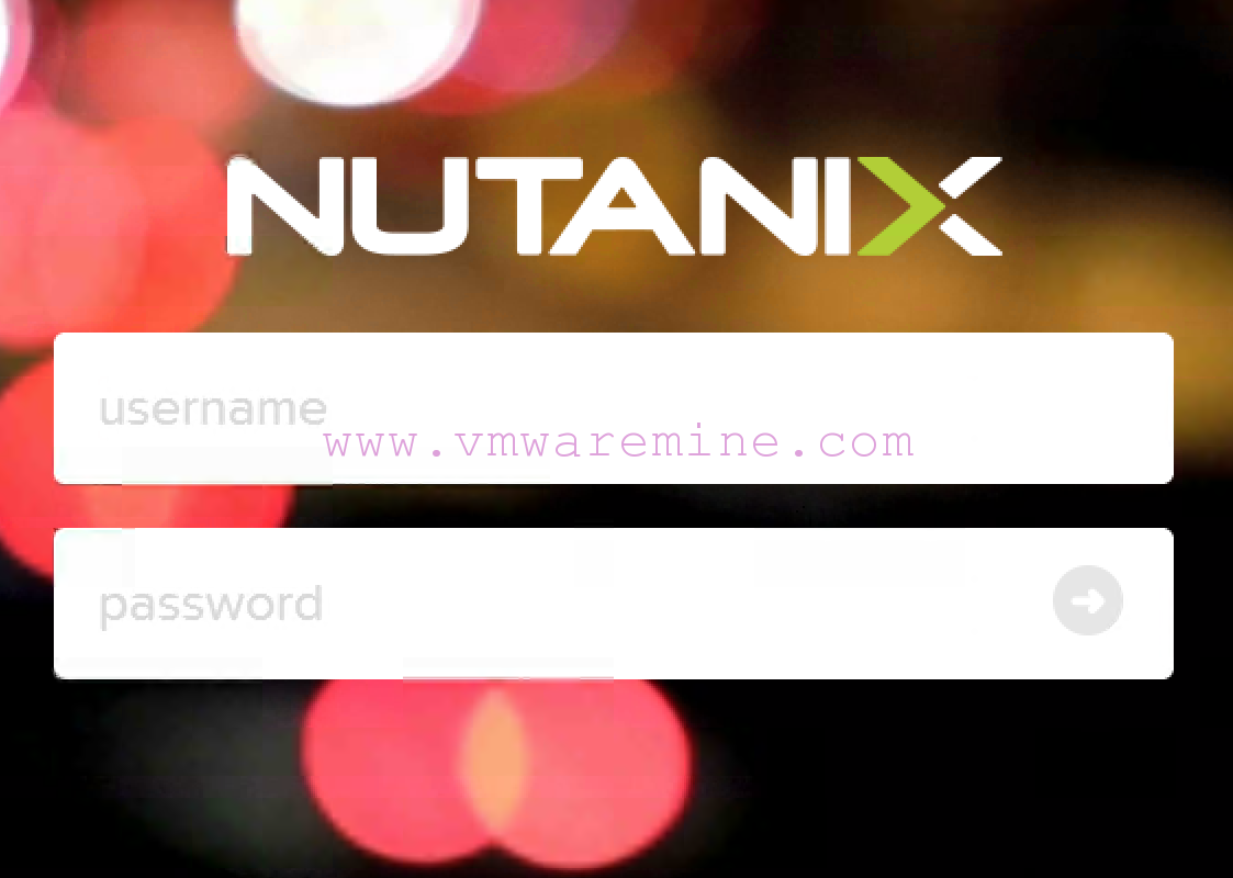 Nutanix Prism Central log on screen