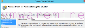 MSFC cluster name and IP address