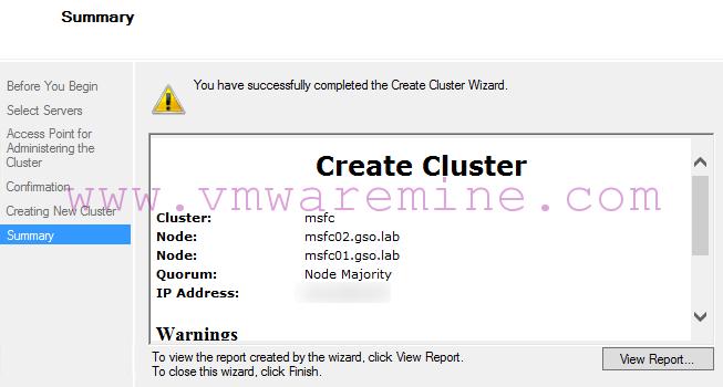 Failover cluster created