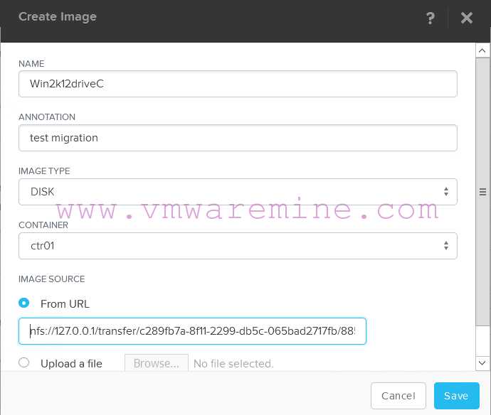 Create image from VHD disk