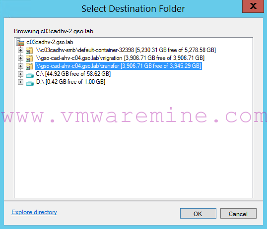 new file share storage is visible in Migrate Storage SCVMM wizard